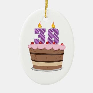 Age 38 on Birthday Cake Ceramic Ornament