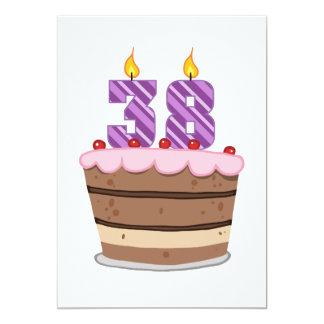 Age 38 on Birthday Cake 5x7 Paper Invitation Card