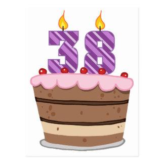 Age 38 on Birthday Cake Postcard