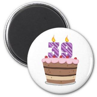 Age 39 on Birthday Cake 2 Inch Round Magnet