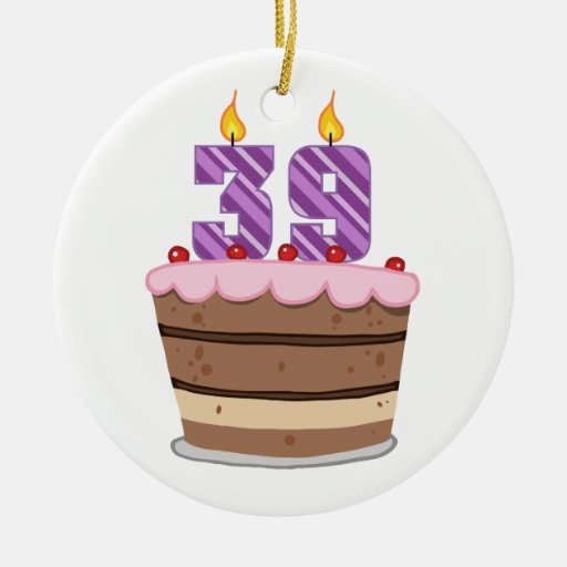 Age 39 on Birthday Cake Double-Sided Ceramic Round Christmas Ornament