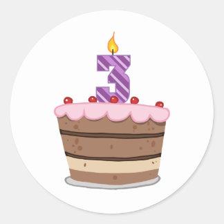 Age 3 on Birthday Cake Classic Round Sticker