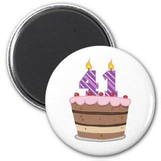 Age 41 on Birthday Cake Magnet