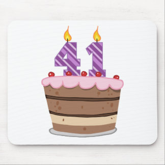 Age 41 on Birthday Cake Mouse Pad