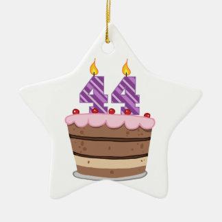 Age 44 on Birthday Cake Ceramic Ornament