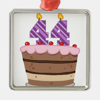 Age 44 on Birthday Cake Metal Ornament