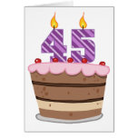 Age 45 on Birthday Cake Greeting Card