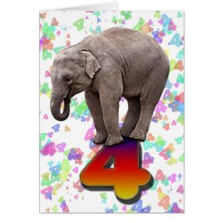 Age 4, a happy elephants birthday card