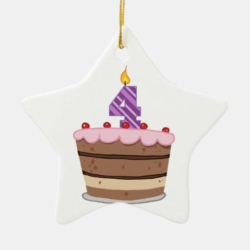 Age 4 on Birthday Cake Christmas Tree Ornament