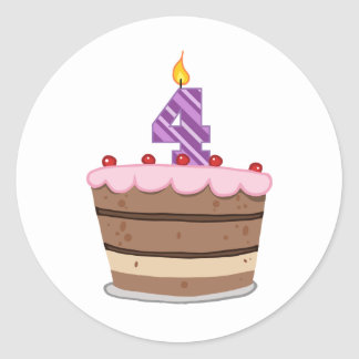 Age 4 on Birthday Cake Classic Round Sticker