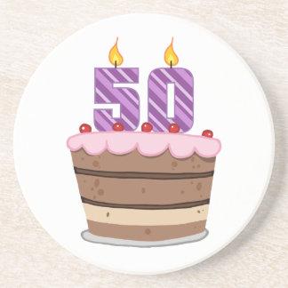 Age 50 on Birthday Cake Sandstone Coaster