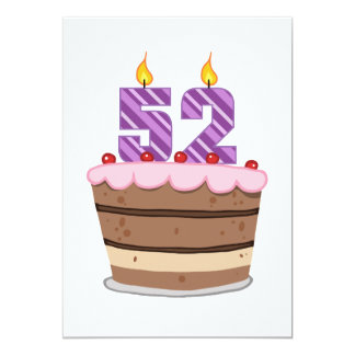 Age 52 on Birthday Cake Card
