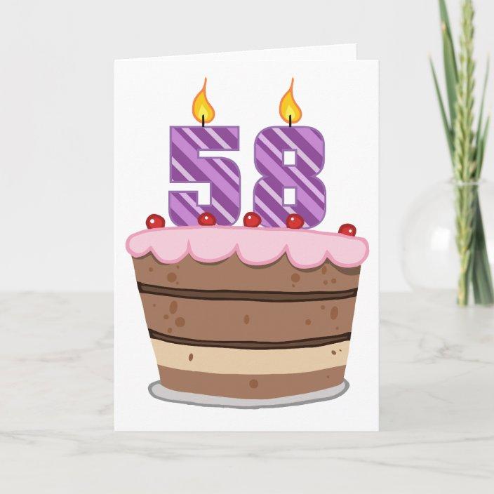 Excellent Age 58 On Birthday Cake Card Zazzle Com Funny Birthday Cards Online Unhofree Goldxyz