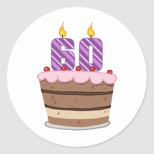 Age 60 on Birthday Cake Classic Round Sticker