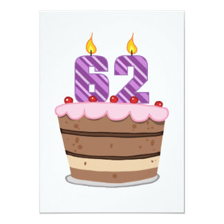 Age 62 on Birthday Cake Card