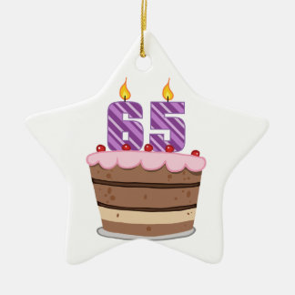 Age 65 on Birthday Cake Double-Sided Star Ceramic Christmas Ornament