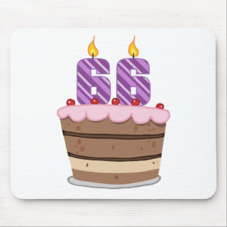 Age 66 on Birthday Cake Mouse Pad