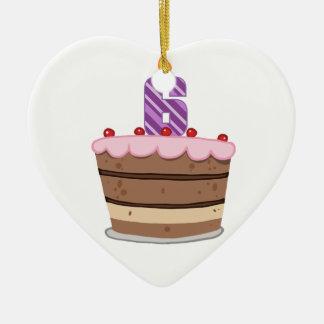 Age 6 on Birthday Cake Ceramic Ornament