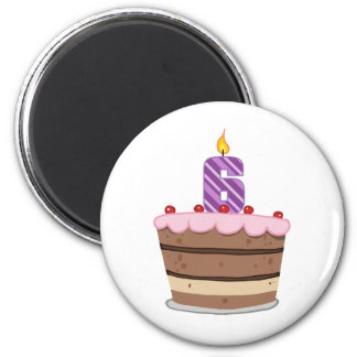 Age 6 on Birthday Cake Magnet