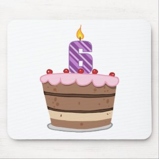 Age 6 on Birthday Cake Mouse Pad
