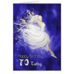 Age 70, leaping ballerina birthday card