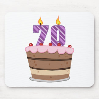 Age 70 on Birthday Cake Mouse Pad