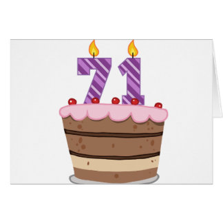 Age 71 on Birthday Cake Card