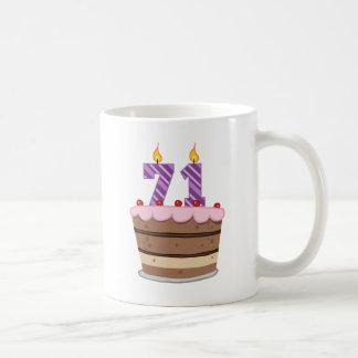 Age 71 on Birthday Cake Coffee Mug