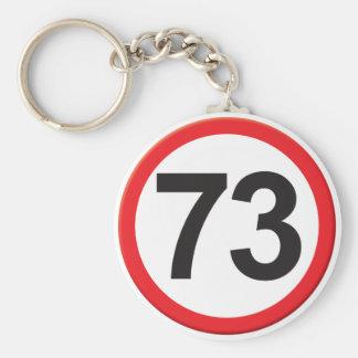 Age 73 basic round button keychain