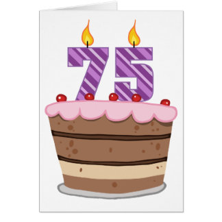 Age 75 on  Birthday Cake Card