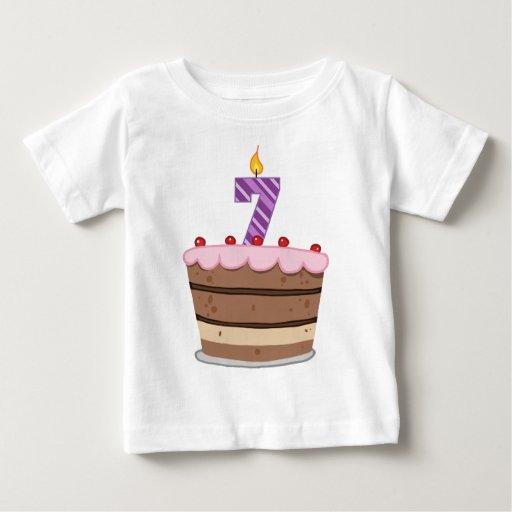 Age 7 on birthday cake baby t shirt zazzle for T shirt cake decoration