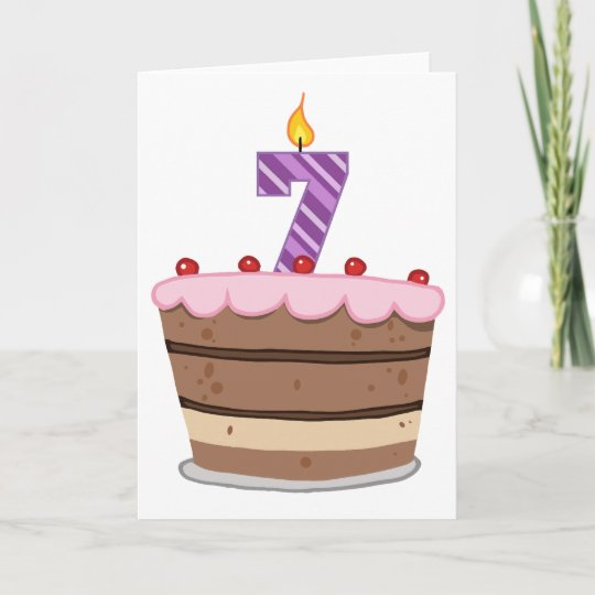 Age 7 On Birthday Cake Card
