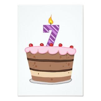 Age 7 on Birthday Cake Card