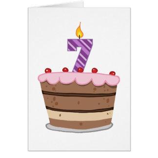 Age 7 on Birthday Cake Greeting Card