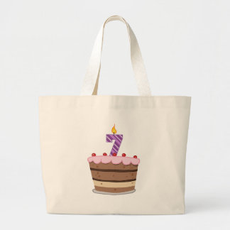 Age 7 on Birthday Cake Large Tote Bag
