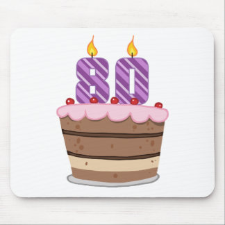 Age 80 on Birthday Cake Mouse Pad