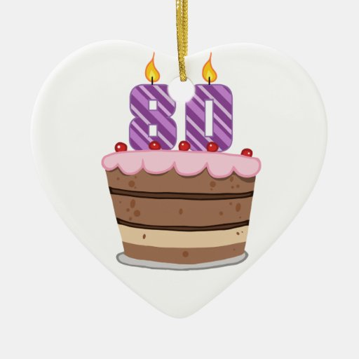 Age 80 on Birthday Cake Ornament