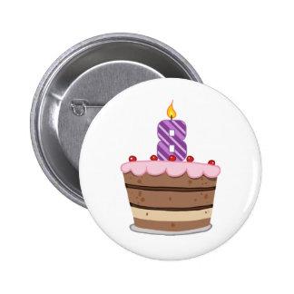 Age 8 on Birthday Cake 2 Inch Round Button