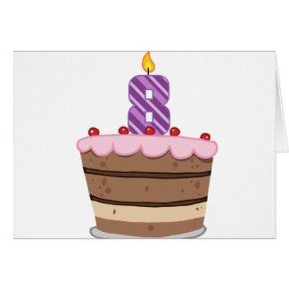 Age 8 on Birthday Cake Card
