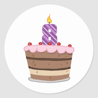 Age 8 on Birthday Cake Classic Round Sticker