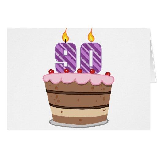 Age 90 on Birthday Cake Greeting Card
