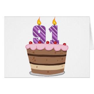 Age 91 on Birthday Cake Greeting Cards