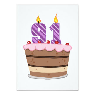 Age 91 on Birthday Cake Card