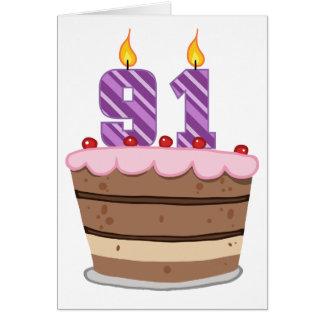 Age 91 on Birthday Cake Card