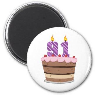 Age 91 on Birthday Cake Magnet