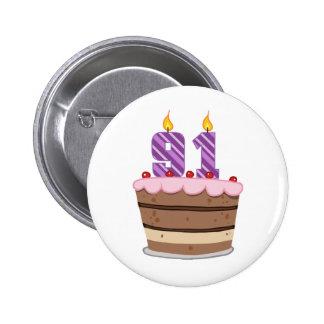 Age 91 on Birthday Cake Pinback Button