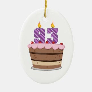 Age 93 on Birthday Cake Ceramic Ornament