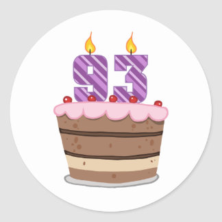 Age 93 on Birthday Cake Classic Round Sticker
