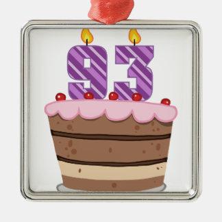 Age 93 on Birthday Cake Metal Ornament