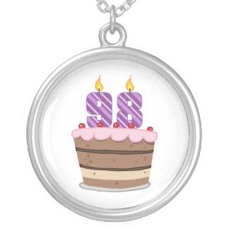 Age 98 on Birthday Cake Round Pendant Necklace